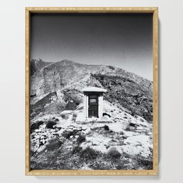 B&W photo with a mysterious door on the mountain of the Greece island of Milos Serving Tray