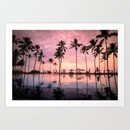 Pastel Sunset Palms Art Print