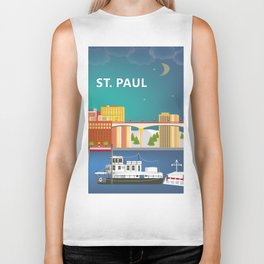 St. Paul, Minnesota - Skyline Illustration by Loose Petals Biker Tank