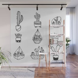 Minimalist Cacti Collection Black and White Wall Mural