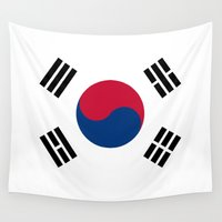 korean Wall Tapestries featuring South Korean flag - officially the Republic of Korea, Authentic version - color and scale by Bruce Stanfield