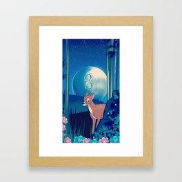 Deer in the Moonlight Framed Art Print