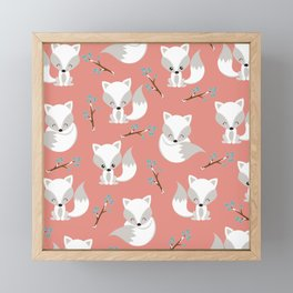 ARCTIC FOXES ON CORAL Framed Mini Art Print