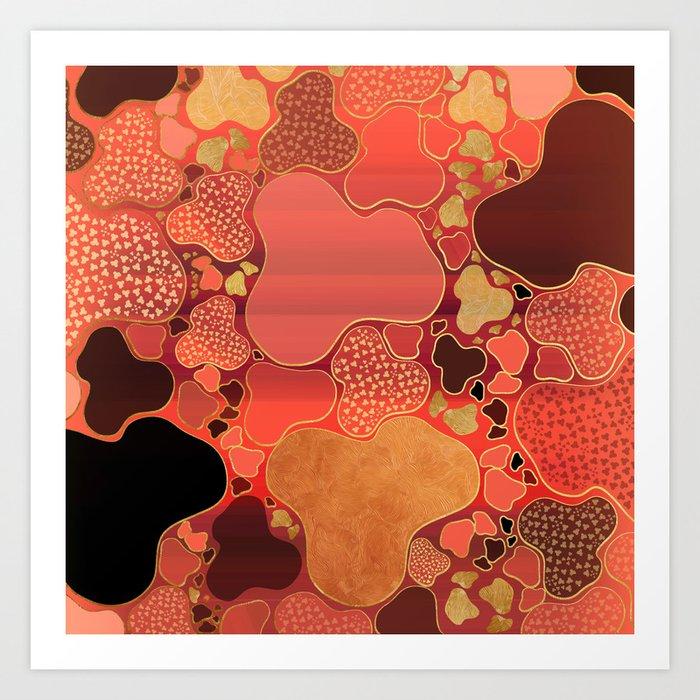 Terracotta Coral Terrazzo Art Print