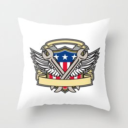 Crossed Wrench Army Wings American Flag Shield Throw Pillow