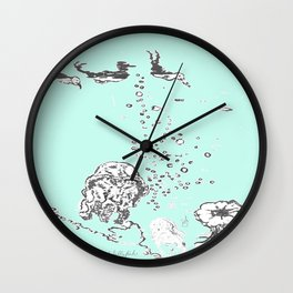 Two Tailed Duck and Jellyfish Mint Green Wall Clock