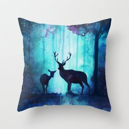 Mother and Baby Stags Throw Pillow