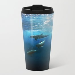 Swimming with Dolphins Metal Travel Mug