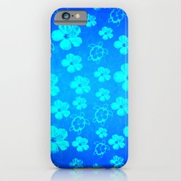 Blue Hawaiian Honu And Tropical Flowers iPhone Case