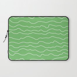 Green with White Squiggly Lines Laptop Sleeve