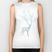 black Biker Tanks featuring Blue Deer by Huebucket