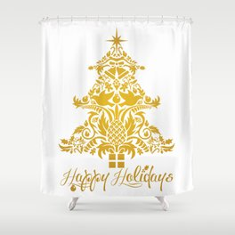 Ornate Pineapple Holiday Tree Shower Curtain