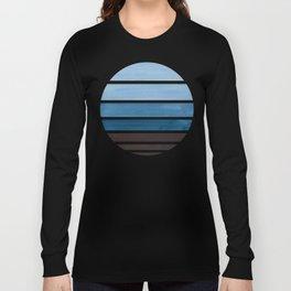 Blue Green Mid Century Modern Minimalist Circle Round Photo Staggered Sunset Geometric Stripe Design Long Sleeve T-shirt