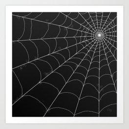 Spiderweb on Black Art Print