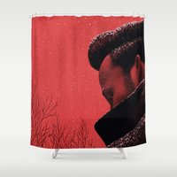 camus Shower Curtains featuring Byronic III by Boris Pelcer