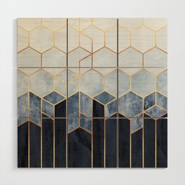 Soft Blue Hexagons Wood Wall Art