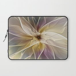 Floral Fantasy, Abstract Fractal Art Laptop Sleeve