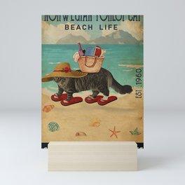 Beach Life Sandy Toes Norwegian Forest Cat gift Mini Art Print