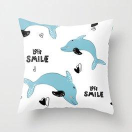 dolphin pattern Throw Pillow