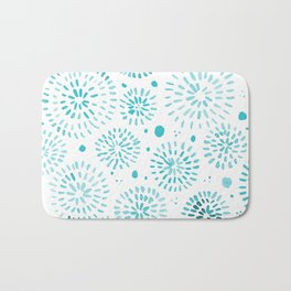Abstract watercolor sparkles – turquoise Bath Mat