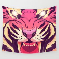 illuminati Wall Tapestries featuring Cool angry tiger by Oh wow!