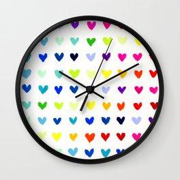 Multicolored Rainbow Hearts Wall Clock