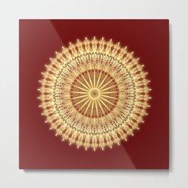 Gold Dark Red Mandala Metal Print