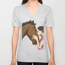 Girl Kissing A Horse Unisex V-Neck