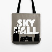 skyfall Tote Bags featuring SKYFALL by Vector Vectoria