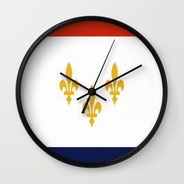 flag of new orleans,NOLA,Crescent City,Big Easy,Nawlins, jazz,Lousiana,french,cajun,treme Wall Clock