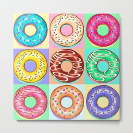 Donuts Punchy Pastel flavours Pattern Metal Print