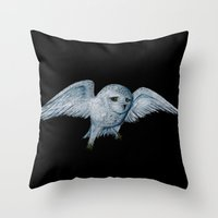 hedwig Throw Pillows featuring Hedwig by Ashley Lick