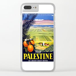 Palestine, vintage travel poster Clear iPhone Case