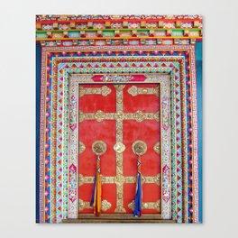 Colorful Handpainted Tibetan Buddhist Monastery Door Canvas Print