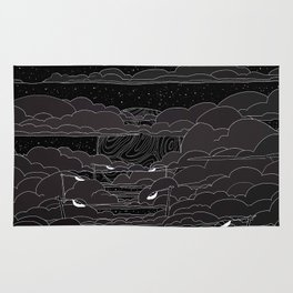 white ink 04 - city in the sky Rug