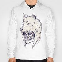 hat Hoodies featuring WOLF HAT by Mike Koubou