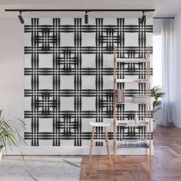 Monochrome oriental pattern of intersecting black squares and white curly crosses. Wall Mural