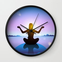 Yoga Studio Calming Purple / Blue Padmasana Pose Wall Clock