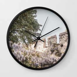 Floral Boho Garden | Medieval Castle Wall Light Purple Baby Blue Sky Moody Botanical Earthy Natural Wall Clock