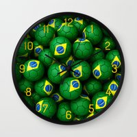 brazil Wall Clocks featuring BRAZIL FOOTBALLS by AMULET