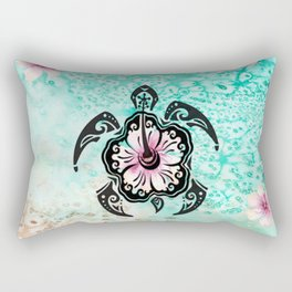 Hibiscus Turtle Rectangular Pillow