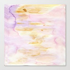 Modern Pink and Gold Watercolor Brush Strokes Canvas Print
