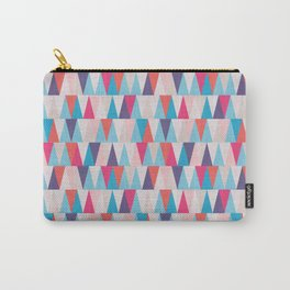 Blue & Pink Geometric Triangle Pattern Carry-All Pouch