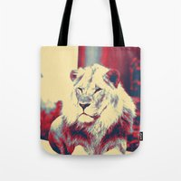popart Tote Bags featuring Lion popart by MehrFarbeimLeben