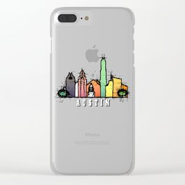 Austin Texas Colorful Silhouette Clear iPhone Case