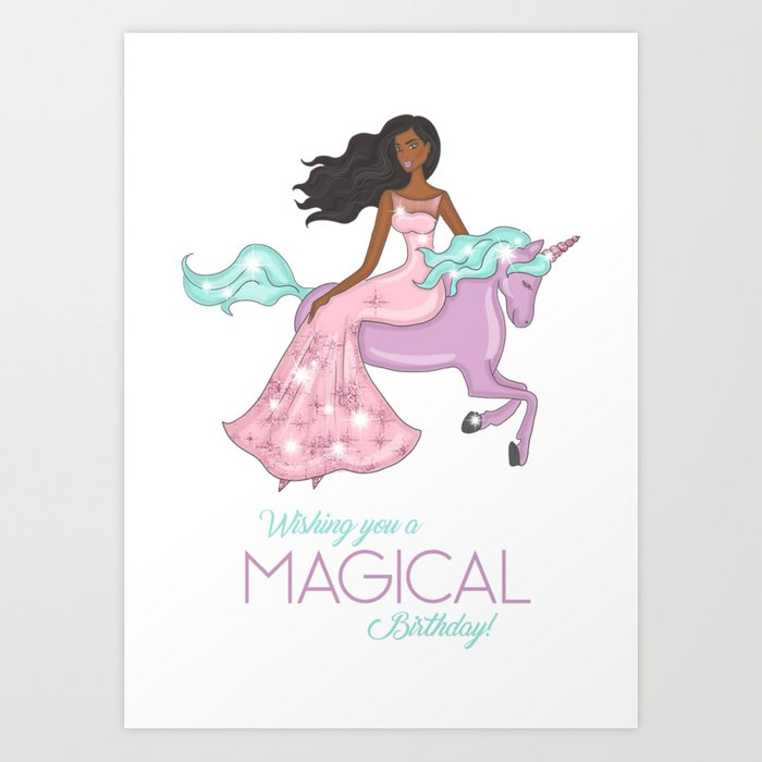 African American Girl On A Unicorn Birthday Card Art Print
