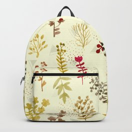 Pattern plants and triangles Backpack
