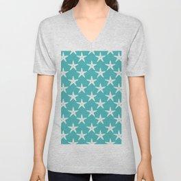 Starfishes (White & Teal Pattern) Unisex V-Neck