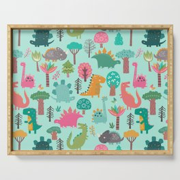 Dinosaurs in the woods pastel green pattern Serving Tray