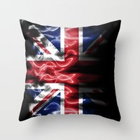 british flag Throw Pillows featuring British flames  by Cozmic Photos